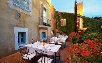 Hotel Mas la Boella Eastern Spain outdoor dining area flowers