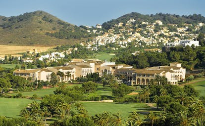 La Manga Club Resort Eastern Spain Principe Felipe aerial view hotel complex palm trees golf course