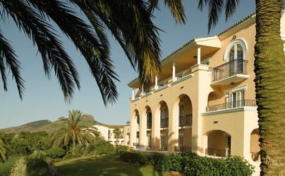 La Manga Club Resort Eastern Spain Principe Felipe exterior building archways balconies and palm trees