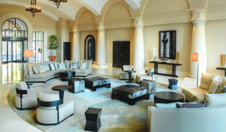 La Manga Club Resort Eastern Spain lobby seating area chandeliers columns