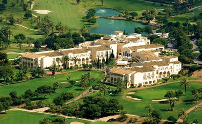 La Manga Club Resort Eastern Spain Principe Felipe aerial view of white hotel complex and golf course