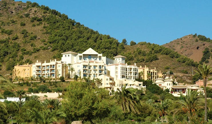 La Manga Club Resort Eastern Spain view of hotel on tree covered hill
