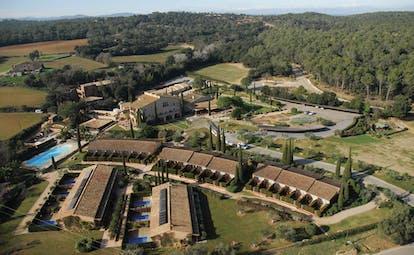 Mas de Torrent Catalonia aerial shot of resort hotel pool countryside