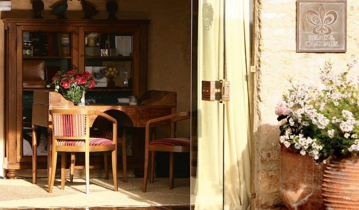 Mas de Torrent Catalonia entrance door desk chairs rustic décor