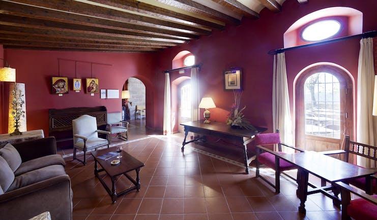 Parador de Cardona Catalonia lounge communal sitting area sofas grand décor