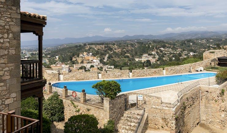 parador de tortosa view onto outdoor swimming pool