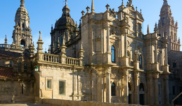 Numerous spires and carvingsd of the roof of the cathedral in Santiago de Compostela