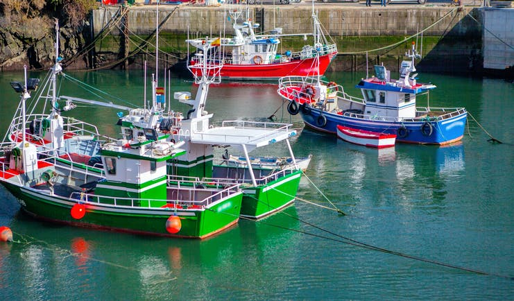 Green, red and blue fishing boats in harbour in Puerto de Vega in Asturias
