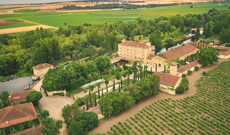 Hacienda Zorita Heart of Spain aerial shot hotel buildings countryside surrounds