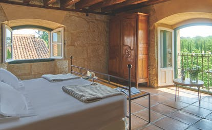 Hacienda Zorita Heart of Spain suite bed cosy décor tiled floors garden views
