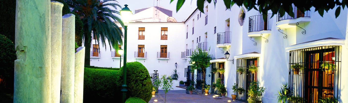 Parador de Merida Heart of Spain patio hotel exterior ancient columns