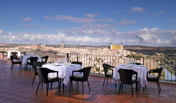 Parador de Toledo Heart of Spain terrace outdoor dining area views over city