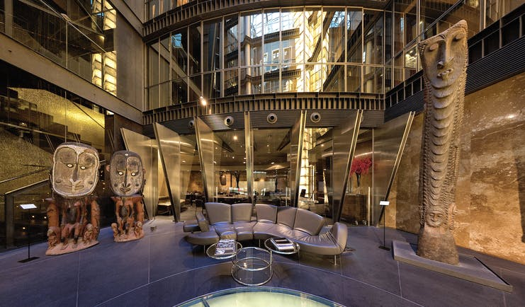 Hotel Urban Madrid atrium sofa abstract sculptures and artwork stylish décor