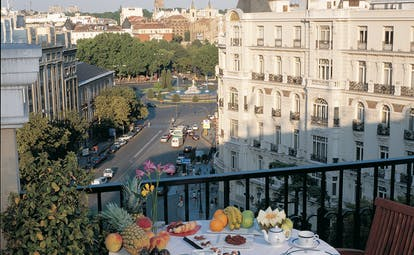 Villa Real Madrid balcony breakfast table views of the city