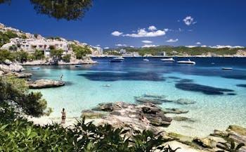 Cala Fornells Mallorca beach coastline in distance