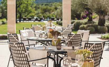 Castell Son Claret Mallorca outdoor dining area