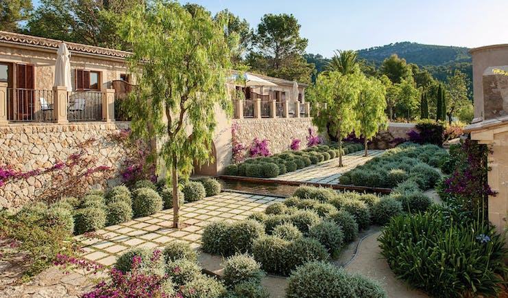 Castell Son Claret Mallorca terrace trees greenery shrubbery