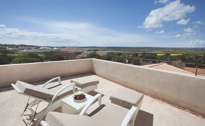 Font Santa Mallorca view from rooftop terrace sun loungers countryside surrounds