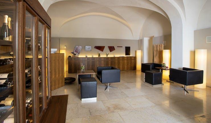 Convent de la Missio Mallorca reception desk leather seats modern décor original building features
