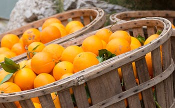 Wooden crates of oranges