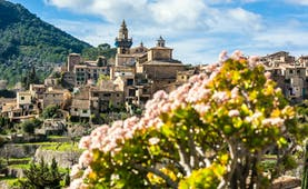 Pink flowers in foreground and church spire and stone houses with terraced gardens at Valldemossa
