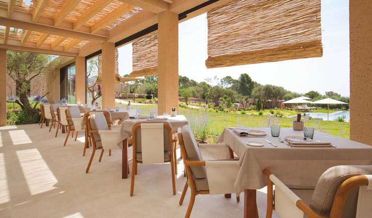 Pleta de Mar Mallorca restaurant terrace overlooking gardens and pool