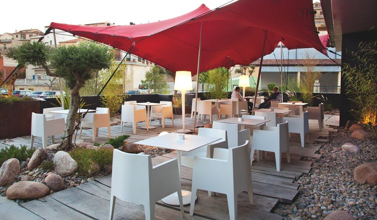 Hotel Viura Basque terrace outdoor seating area tables and chairs