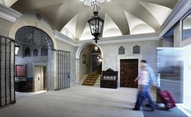 Palacio Guendulain Basque entrance iron gates vaulted ceiling
