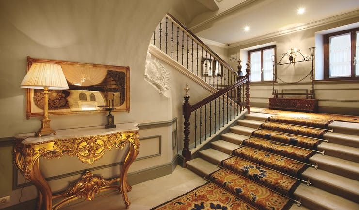 Palacio Guendulain Basque staircase marble floors gold gilded furniture ornate décor