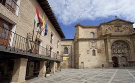 parador de santo domingo de la calzada exterior courtyard with church on one end