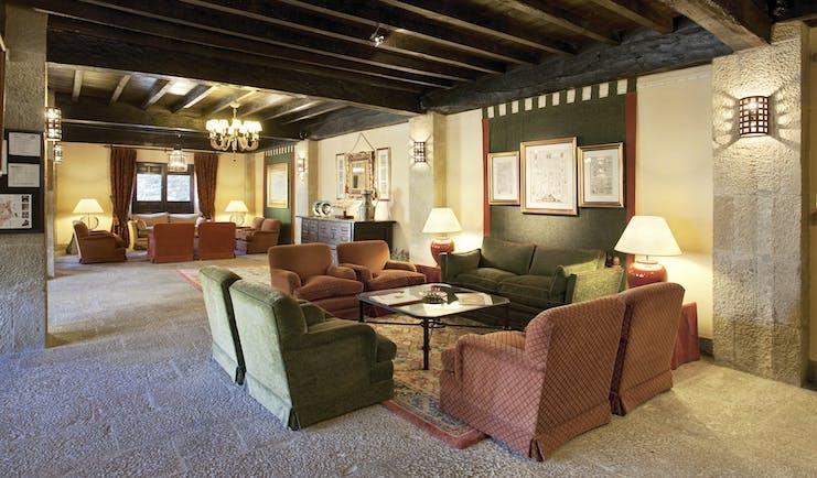 Parador de Sos del Rey Catalico Basque communal indoor seating area sofas armchairs