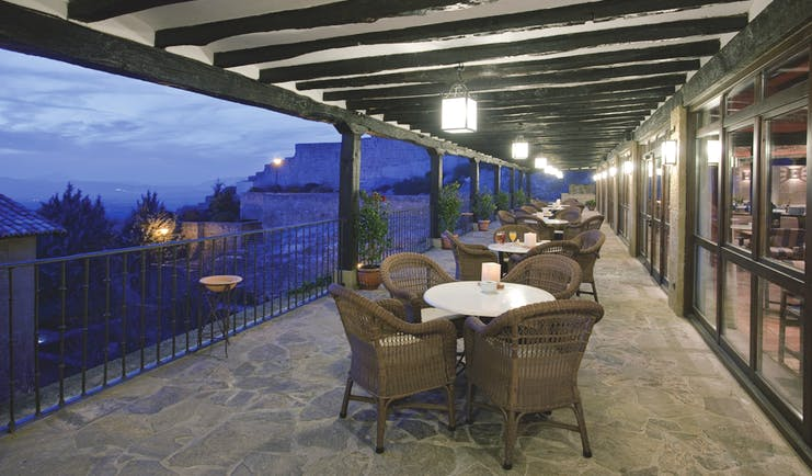 Parador de Sos del Rey Catalico Basque terrace at night outdoor seating area views over the town