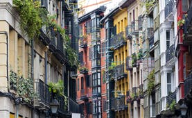 Multi-coloured tall and narrow houses in the casco viejo of Bilbao