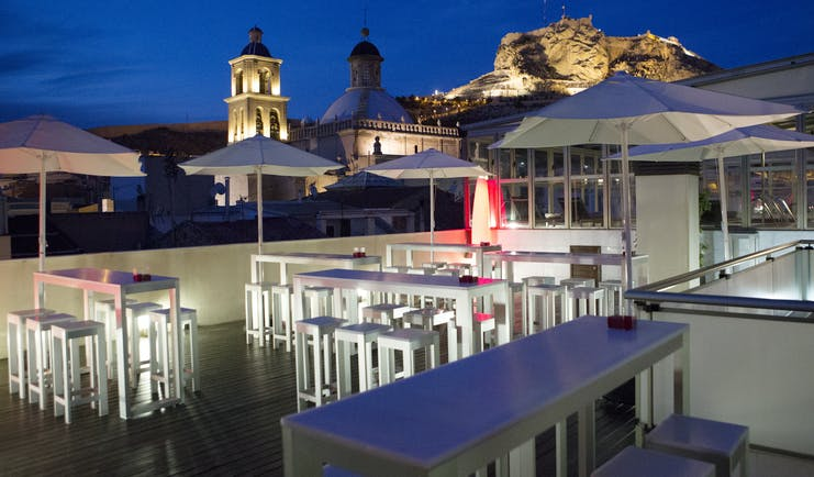 Hospes Amerigo Alicante roof terrace at night