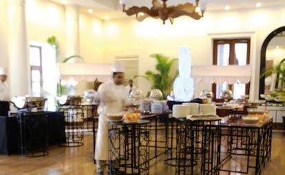 Mount Lavinia Hotel Sri Lanka Chinese lounge chefs preparing food in indoor dining area