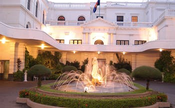 Mount Lavinia Hotel Sri Lanka courtyard white building with fountain