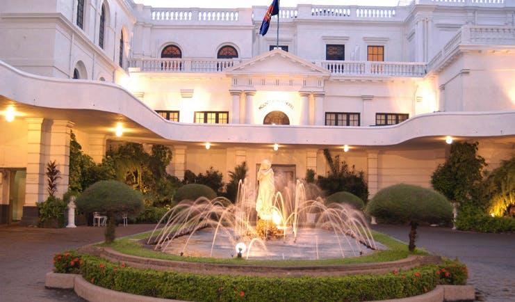 Mount Lavinia Hotel Sri Lanka courtyard white building with fountain