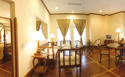 Mount Lavinia Hotel Sri Lanka Governor's wing suite lounge with sofas and view of bedroom