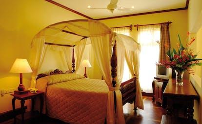 Mount Lavinia Hotel Sri Lanka Governor's wing bedroom four poster bed drapes