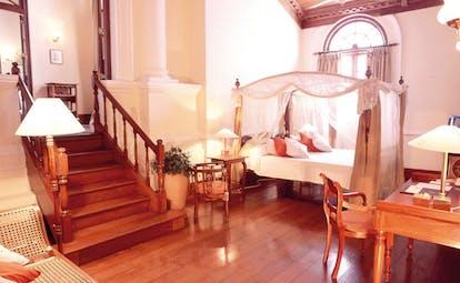 Mount Lavinia Hotel Sri Lanka Governor's wing suite desk staricase four poster bed drapes