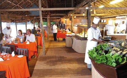 Mount Lavinia Hotel Sri Lanka restaurant Seafood Cove chefs preparing and serving food