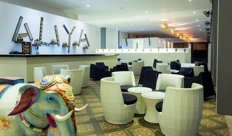 Aliya Sri Lanka bar indoor seating modern décor colourful elephant statue