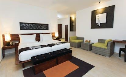 Aliya Sri Lanka deluxe twin room bed armchairs bright modern décor