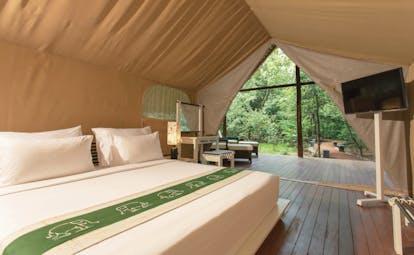 Aliya Sri Lanka luxury tent bed elevated mattress television terrace
