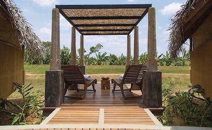 Aliya Sri Lanka spa terrace outdoor seating area overlooking countryside