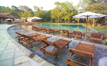 Chaaya Village Sri Lanka pool terrace sun loungers umbrellas