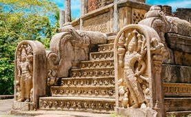 Polonnaruwa temple, intricate stone carvings, buddhas, carved steps