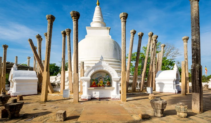 Thuparamaya temple, cultural triangle, ancient stone columns, white domed stupa, buddhist shrine
