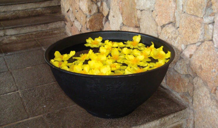 Deer Park Sri Lanka entrance flowers black bowl with floating yellow flowers