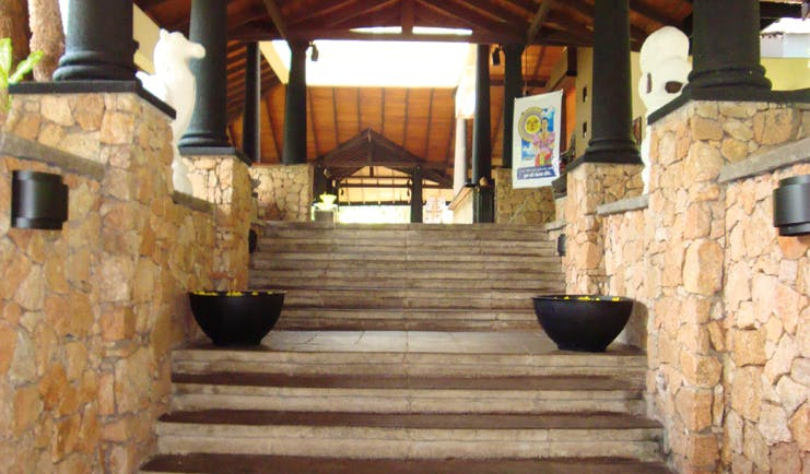 Deer Park Sri Lanka entrance steps stonework columns and statues